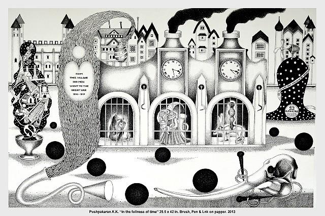 K.K. Pushpakaran, In the Fullness of Time 2013, brush, pen and ink on paper