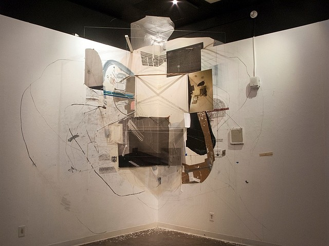 Gregory Bae, 0o #2 2012, mixed media installation in a corner