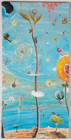 Peter Burns, Jacobs Beanstalk 2013, oil and sequins on canvas