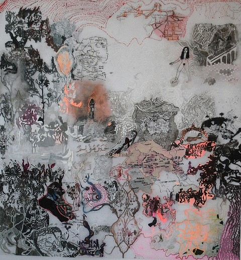 Tamara de Laval, In This World 2009, acrylic and lead pencil on tracing film