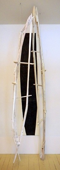 Jesse Hickman, Cowboys 2013, whitewashed reclaimed wood, reclaimed metal scrap, tar on heavyweight rag paper