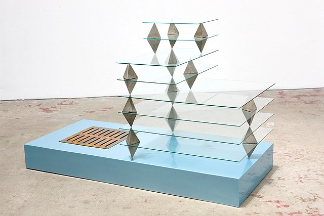 Patrick Jackson, City Unborn (Aqua Ice Opalescent) 2008, glass, cement, fiberboard, car paint, glass and sewer grate