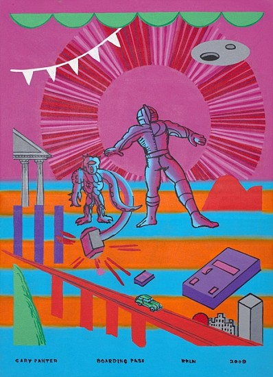 Gary Panter, Boarding Pass 2008, acrylic on canvas
