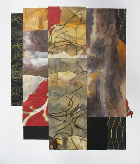 Scott Sandell, 41 Sounds (d) 2014, collage built from painted handmade and hand printed papers, with screenprint, lithographym digital print, monoprint and drawing