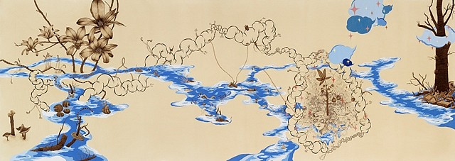 Naoe Suzuki, Blue 2011, mineral pigment, micro pigment pen, walnut ink and tea on paper