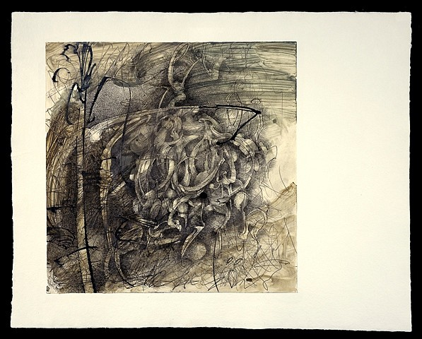 Larry Thomas, Grass Mountain 2011-12, pencil, pen and ink, acrylic wash on paper