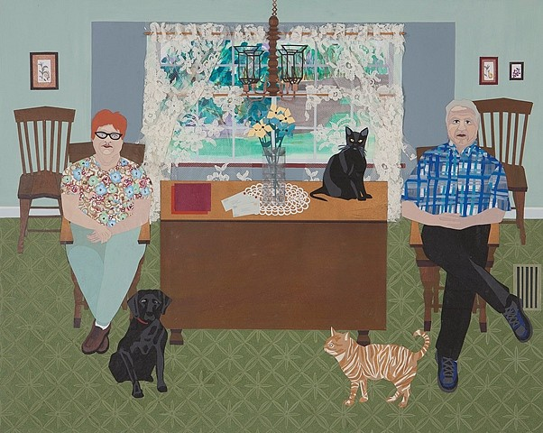 Ann Toebbe, Margie and Neal 2012, paper, fabric, flocking, gouache on panel