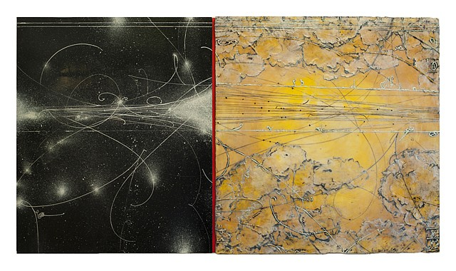 Elise Wagner, Opposing Cartography 6 2014, encaustic and oil on panel