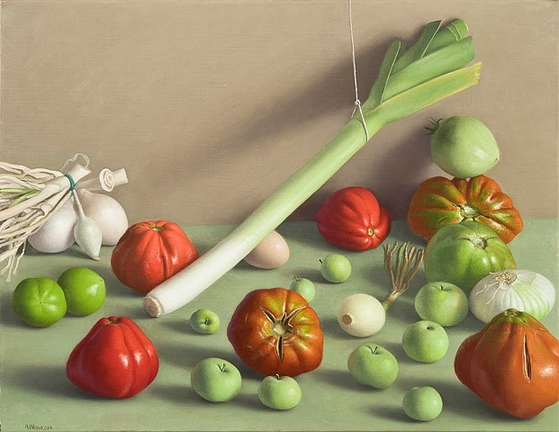Amy Weiskopf, Still Life with Tomatoes, Green Apples and Leek 2010, oil on linen