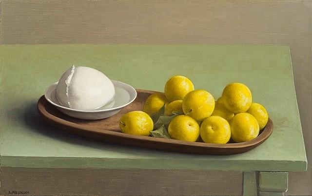 Amy Weiskopf, Still Life with Yellow Plums Mozzarella 2012, oil on linen