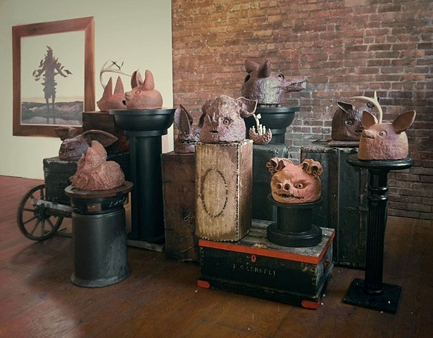 Kahn and Selesnick, Bat Reliquary Busts 2012, terra cotta, antlers, wax interiors, insects, motion sensitive lights