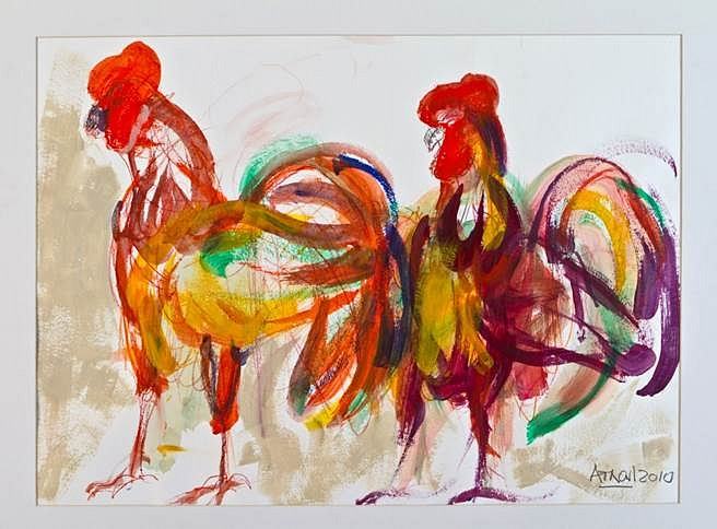Enrique Arnal, Gallos 2010, acrylic on paper