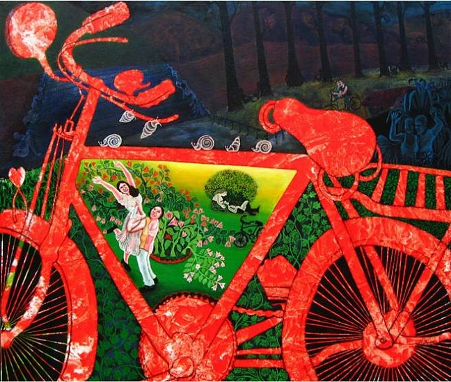 Mithun Dasgupta, The Forgotten Red Cycle 2014, acrylic on canvas