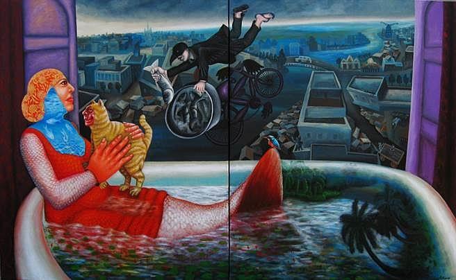 Mithun Dasgupta, Window Shopping 2015, acrylic on canvas