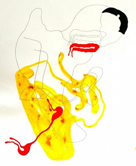Elin Jakobsdottir, Body Mechanics 2014, Ink, pencil, gouache, paper-cut