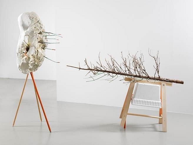 Janelle Iglesias, Knismesis & Gargalesis 2012, Foam found on the shore of the East River, seashell, plaster, broomsticks, wood, Christmas Tree, cooler, sawhorse, sticks, feathers and paint