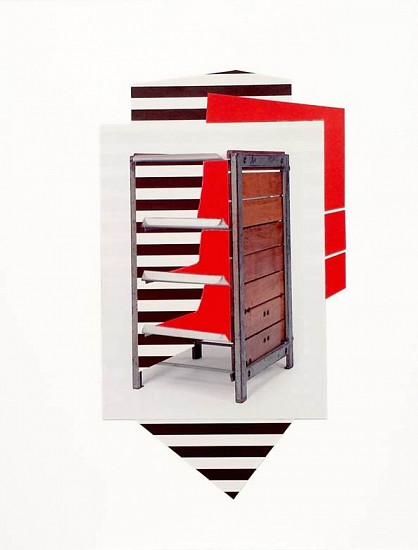Sharon Lawless, Steel Box Red Shelves 2015, Collage on Museum Board