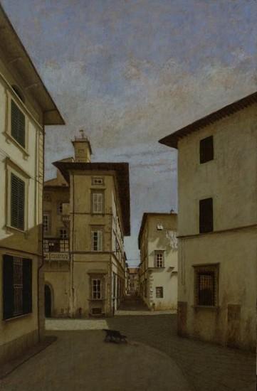 Brian Reynolds, Piazza del Palazzo Dipinto con Figaro il Gato all'Ombra 2014-2015, oil on canvas panel