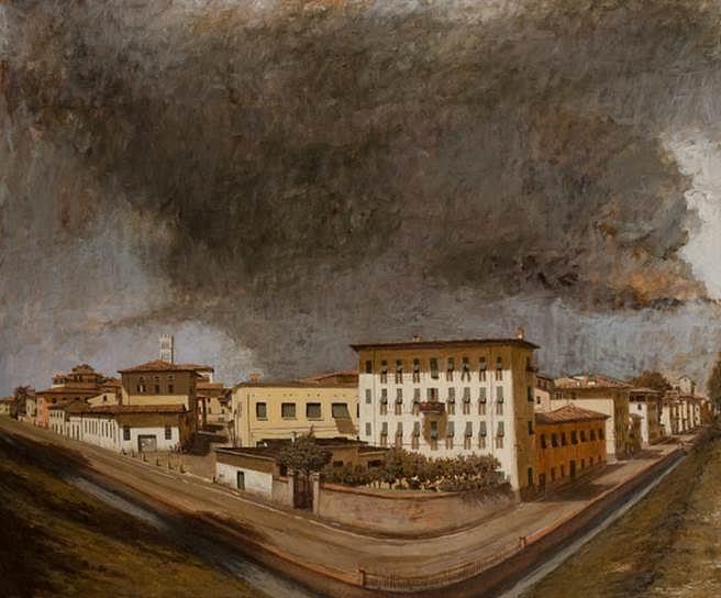 Brian Reynolds, Via Del Fosso/Il Sorgere del Tempaccio 2013-14, oil on canvas panel