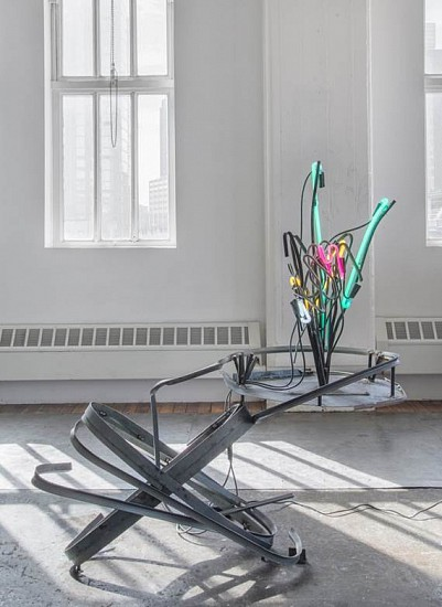 Jo Nigoghossian, Spring Flowers 2015, Steel and neon