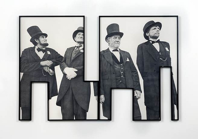 Karl Haendel, Theme Time - President's Day 2012, pencil on cut paper with shaped frame