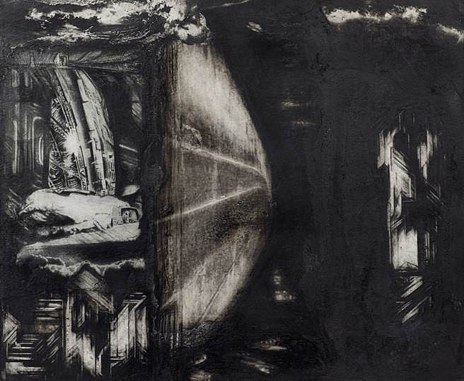 Raha Raissnia, Untitled 2013, compressed charcoal and collage on paper