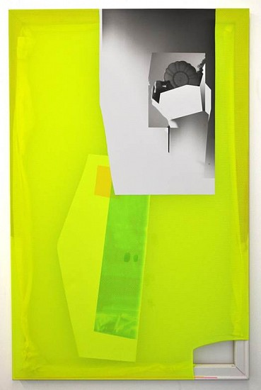 Jude Broughan, Neon Rendering 2014, archival inkjet print on scrim vinyl, polyester, stretchers, gesso, gel medium, acrylic paint, acrylic rods