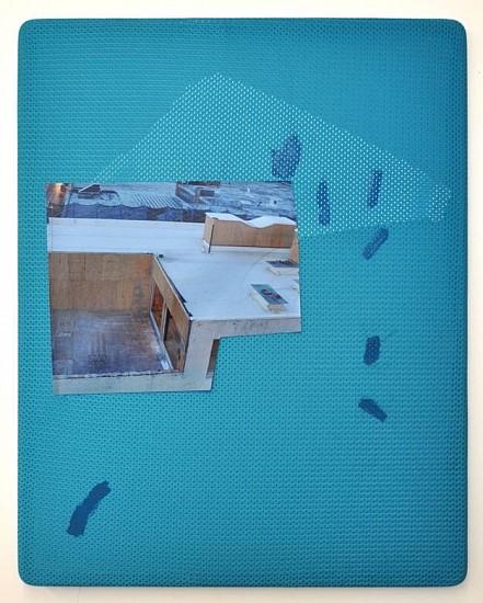 Jude Broughan, Compact 2014, archival inkjet print, polyester, gel medium, vinyl, walnut frame, thread