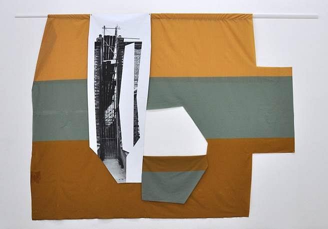 Jude Broughan, Riverside 2014, polyester, archival inkjet print on scrim vinyl, wood, paint, gel medium, brass grommets