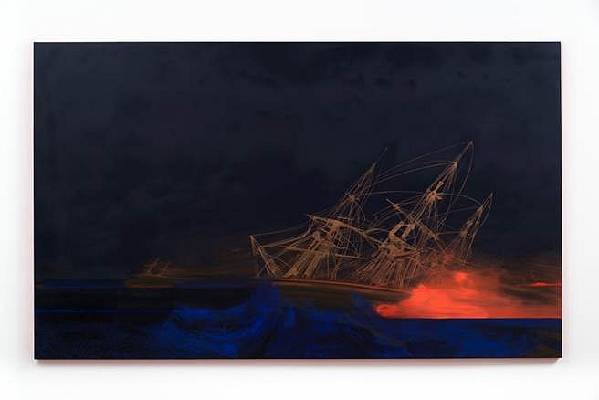 Whitney Bedford, Shipwreck (Darker with the day) 2014, ink and oil on canvas on panel