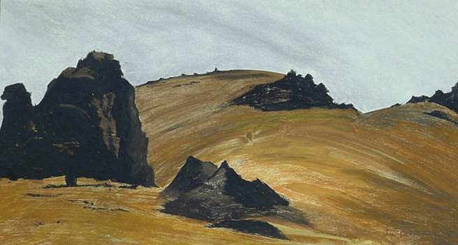 Sue Cooke, Rocks Central Otago 2014, Earth pigments acrylic medium and chalk pastel