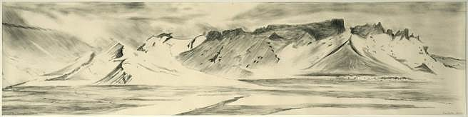 Sue Cooke, Whalers Bay Deception Island 2010, charcoal on paper