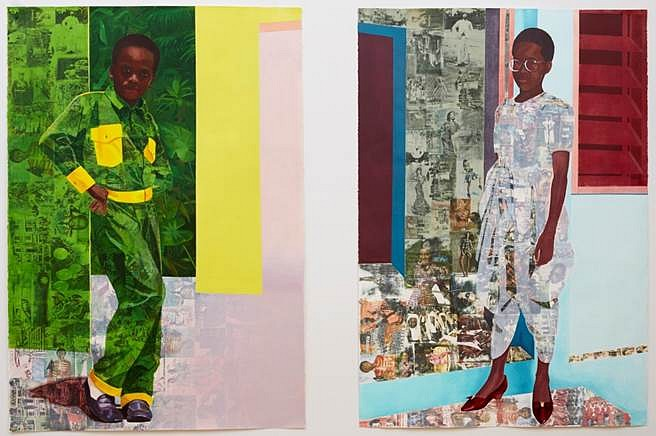 Njideka Akunyili Crosby, The Beautyful Ones Series 1b and 2 2012-13, acrylic, colored pencils, pastels and transfers on paper