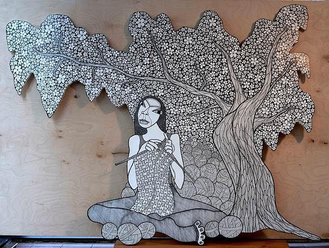 Anna U. Davis, A CBD in D.C. (A Cherry Blossom Dream in D.C.) 2014, ink on cut-out birch