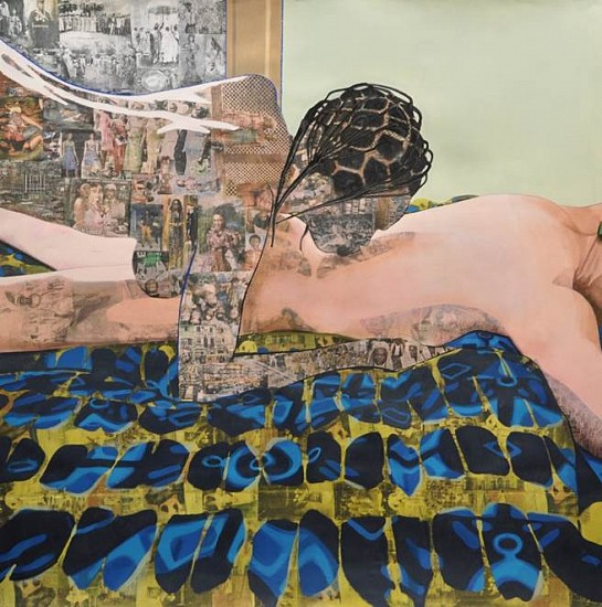 Njideka Akunyili Crosby, Thread 2012, acrylic, charcoal, pastel, colored pencils and transfers on paper