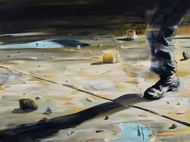 David Barnes, One Leg Walking 2014, oil on canvas