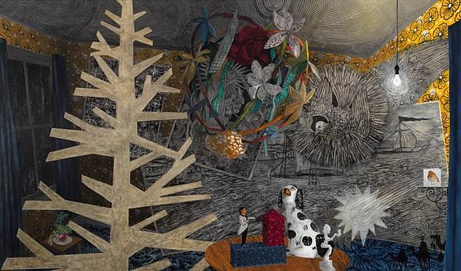 Hanlyn Davies, Holy Night Watch: The Joy of False Positives 2013, acrylic, charcoal, and graphite on canvas
