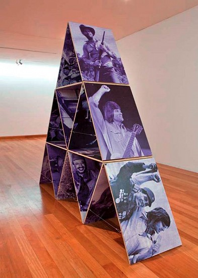 Mario Navarro, House of Cards IV 2006, digital print on aluminum, wood and stainless steel wire
