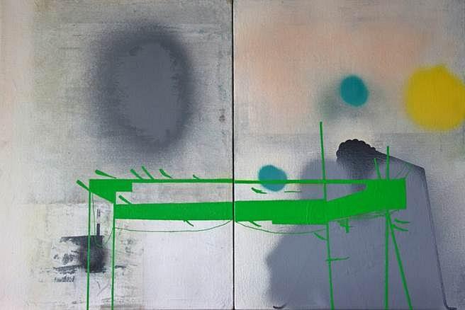 Brady Haston, Green Structure 2013, oil on linen