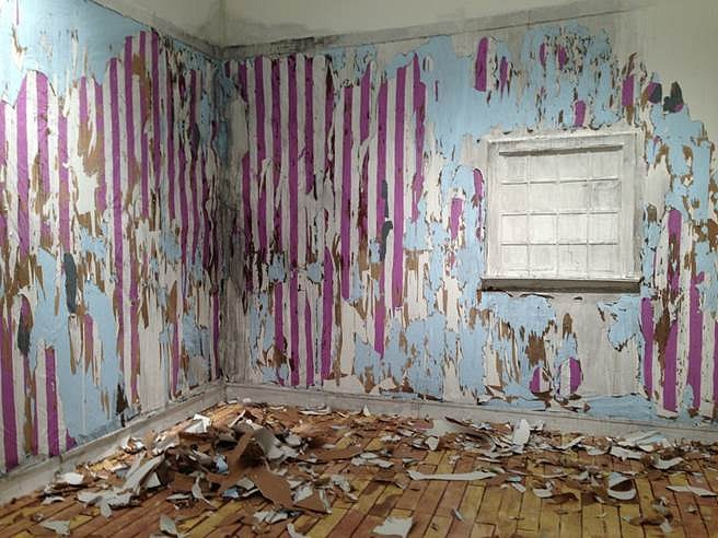 Valerie Hegarty, Parents' Bedroom 2014, paper, latex and acrylic paint, foamcore, wallpaper paste, Tyvek, staples