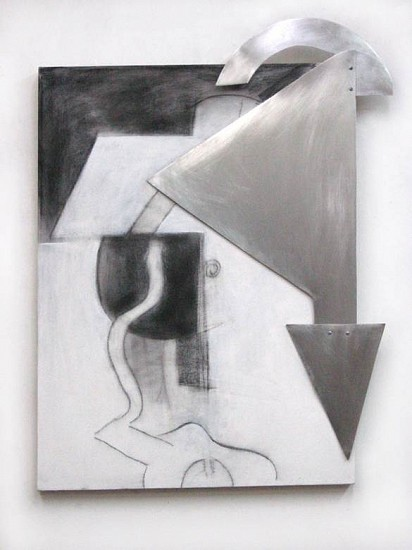 Marion Lane, Apparatus 2014, shaped sheet aluminum and charcoal on canvas