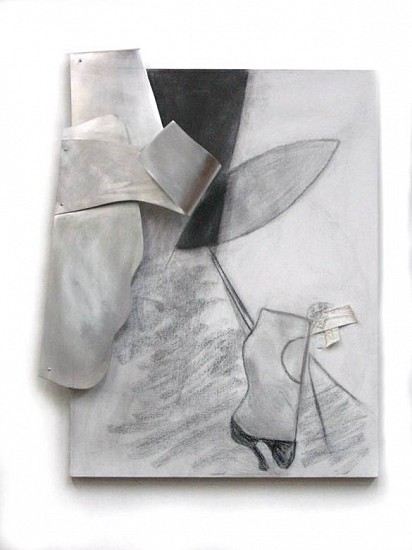 Marion Lane, Components 2014, shaped sheet aluminum, charcoal, fabric on canvas