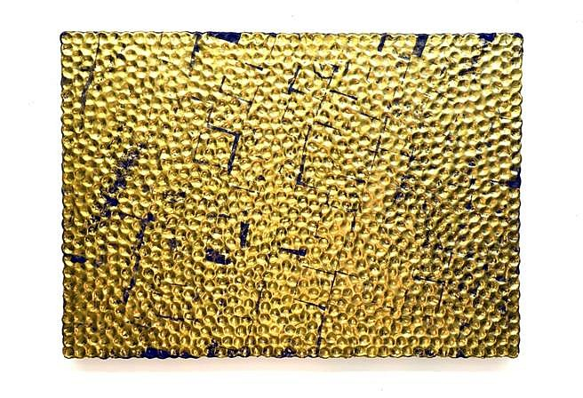 Robert Melee, Inter Gilded Honorific Substitution 2014, carat gold, enamel, plaster, bottle caps on wood