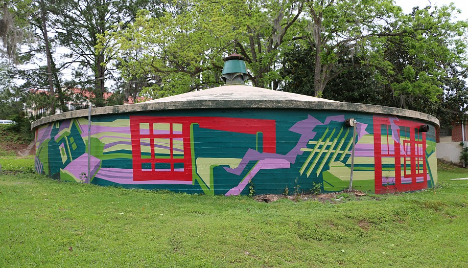 Joelle Dietrick, Systems + Circumstance 2015, House paint on wall on Tallahassee's First Water Cistern, Tallahassee, Florida
