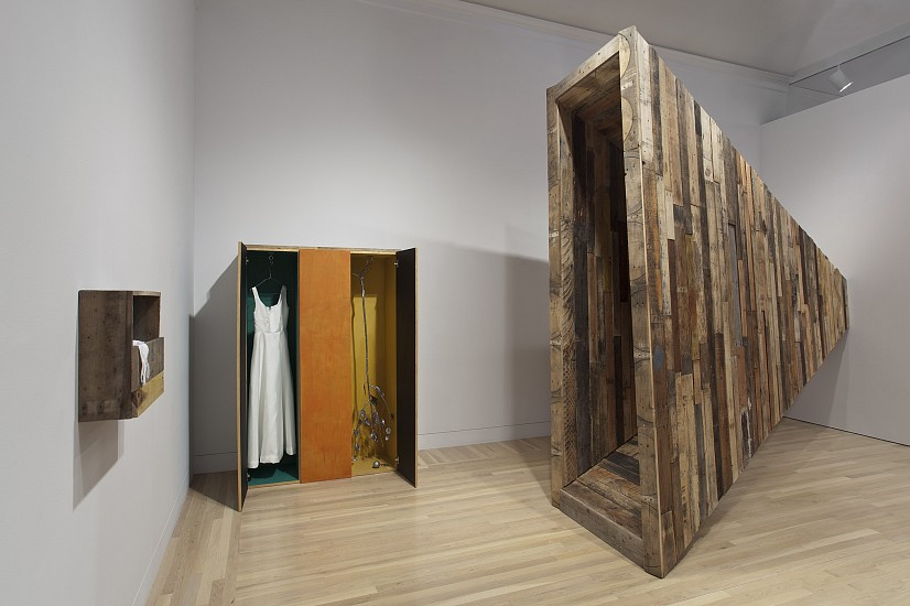 Liz Glynn, Anonymous Needs and Desires (Gaza/Giza) (R), (Passage Gaza/Giza) (L) 2012, Reclaimed forklift pallet stock, wood with casein paint, cast lead, reinforced Kevlar, ballistic nylon, resin