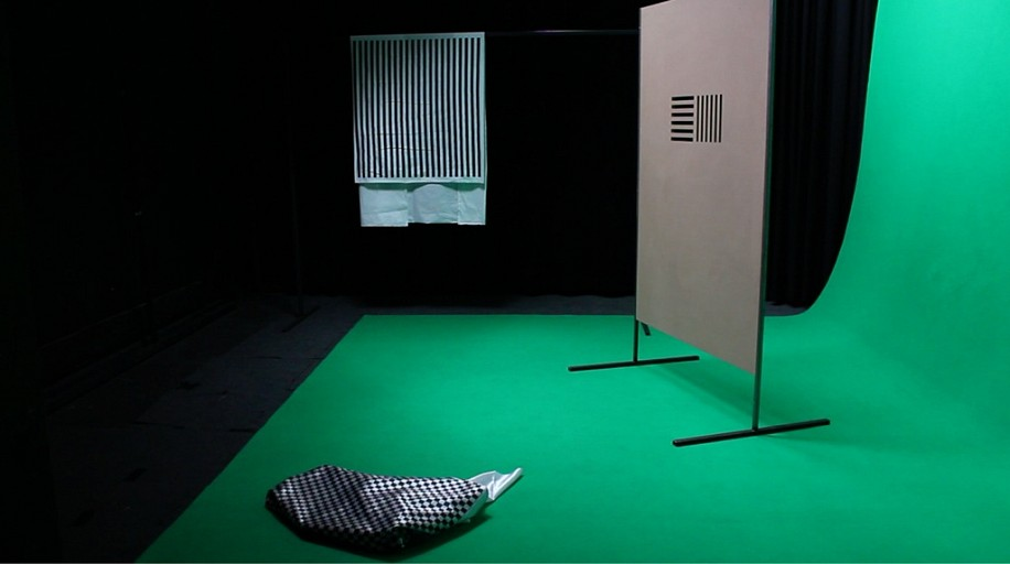 Dominique Hurth, the problem of serial order in behavior, filmed installation 2014, MDF, fabric, steel, curtains, silk with English voice over (10 minutes)