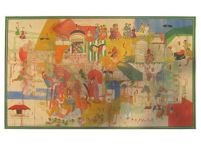 Meenakshi Sengupta, Kam-ati-bagh 2013, watercolor on wasli