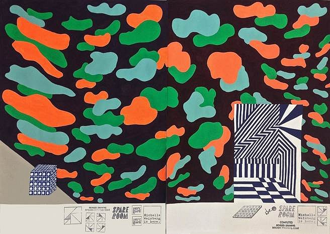 Michelle Weinberg, Camo Test Site (diptych) 2014, gouache and rubber stamps on paper