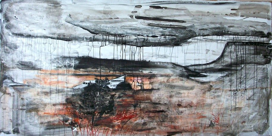 Andy Parsons, Landscape With Downed Plane 2011-12, charcoal, chalk, ink, conte crayon on gessoed paper