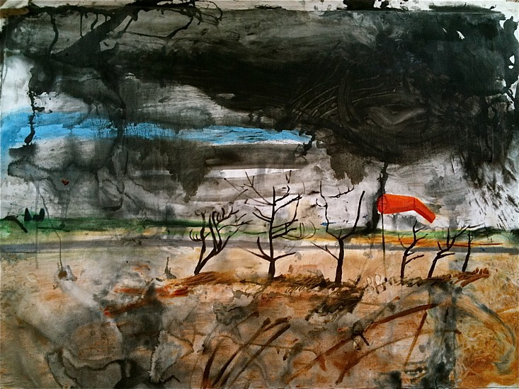 Andy Parsons, Landscape with Windsock 2011-14, oil on canvas